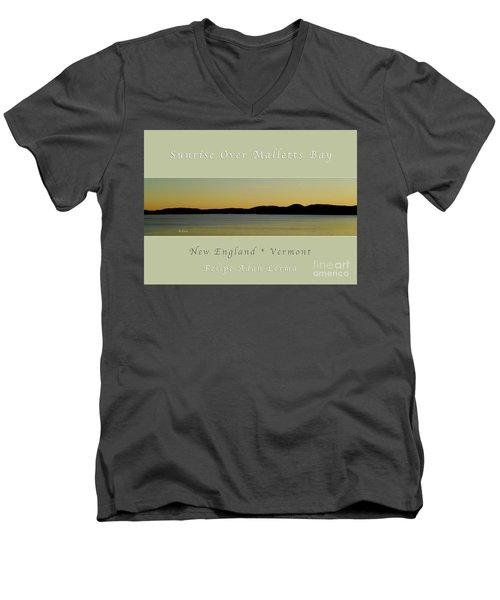 Sunrise Over Malletts Bay Greeting Card And Poster - Six V4 Men's V-Neck T-Shirt