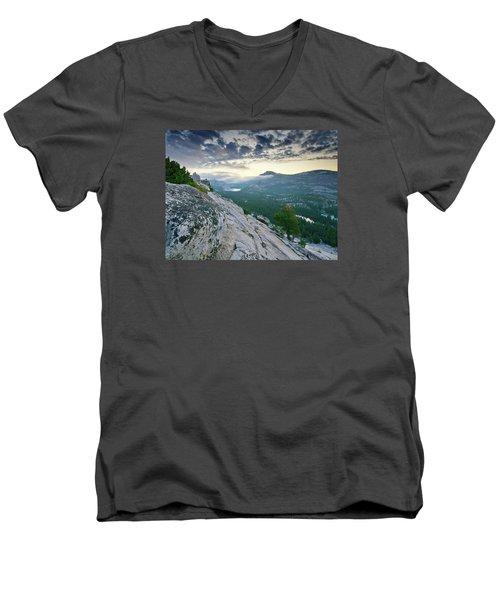 Sunrise Over Tenaya Lake - Yosemite National Park Men's V-Neck T-Shirt by Brendan Reals
