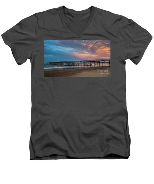 Sunset Over The Atlantic Men's V-Neck T-Shirt by Scott and Dixie Wiley