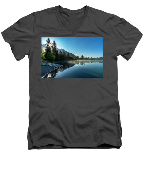 Men's V-Neck T-Shirt featuring the photograph Sunrise Over The Mountain And Through The Tree by Darcy Michaelchuk