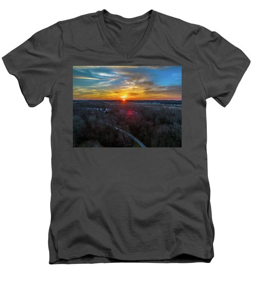 Sunrise Over The Woods Men's V-Neck T-Shirt