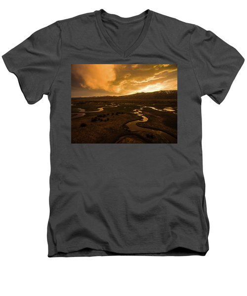 Men's V-Neck T-Shirt featuring the photograph Sunrise Over Winding Rivers by Wesley Aston
