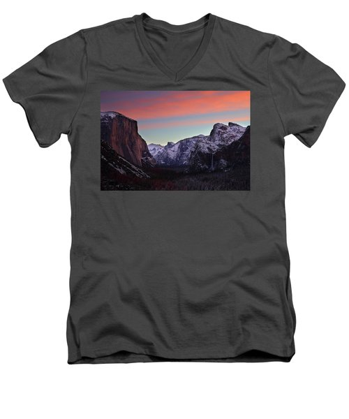 Men's V-Neck T-Shirt featuring the photograph Sunrise Over Yosemite Valley In Winter by Jetson Nguyen