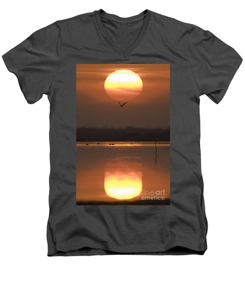 Sunrise Reflection Men's V-Neck T-Shirt by Hitendra SINKAR