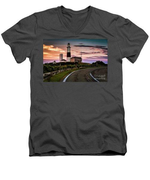 Sunrise Road To The Montauk Lighthous Men's V-Neck T-Shirt