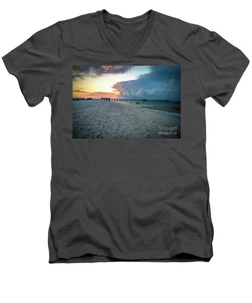 Men's V-Neck T-Shirt featuring the photograph Sunrise Seascape Gulf Shores Al Pier 064a by Ricardos Creations
