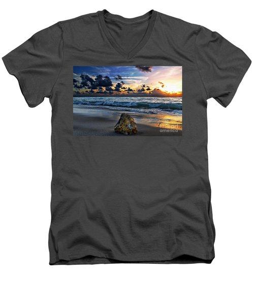 Men's V-Neck T-Shirt featuring the photograph Sunrise Seascape Wisdom Beach Florida C3 by Ricardos Creations