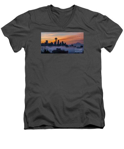 Sunrise Seattle Skyline Above The Fog Men's V-Neck T-Shirt by Mike Reid