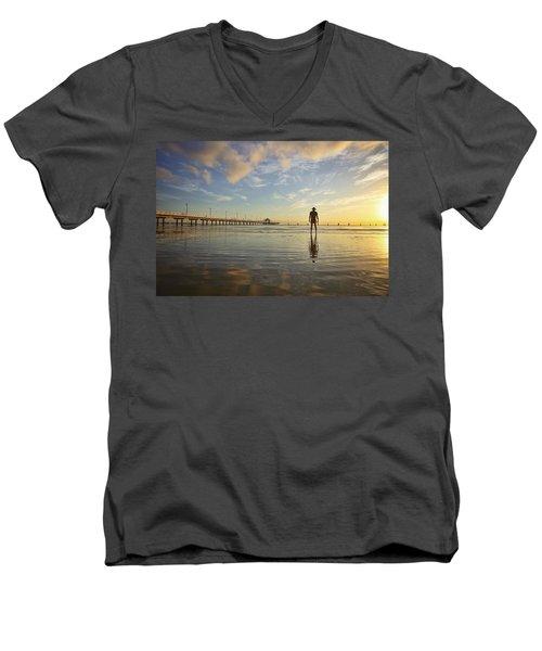 Sunrise Silhouette Down By The Pier. Men's V-Neck T-Shirt