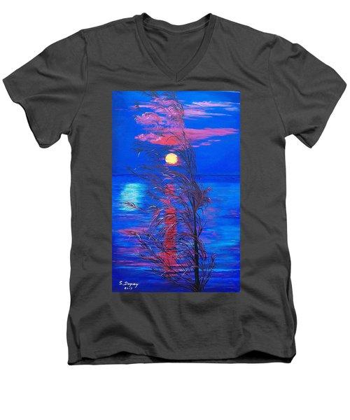 Sunrise Silhouette Men's V-Neck T-Shirt by Sharon Duguay