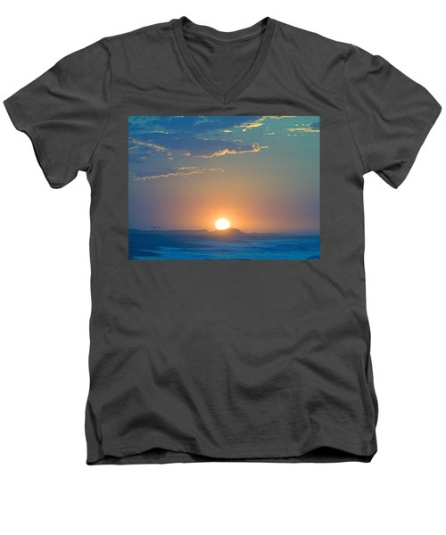 Men's V-Neck T-Shirt featuring the photograph Sunrise Sky by  Newwwman