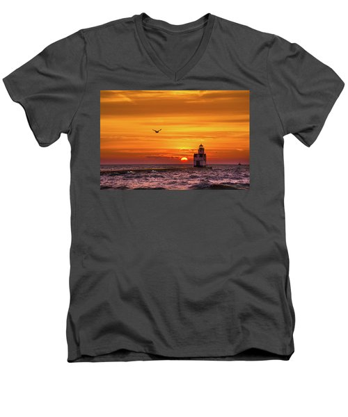 Men's V-Neck T-Shirt featuring the photograph Sunrise Solo by Bill Pevlor