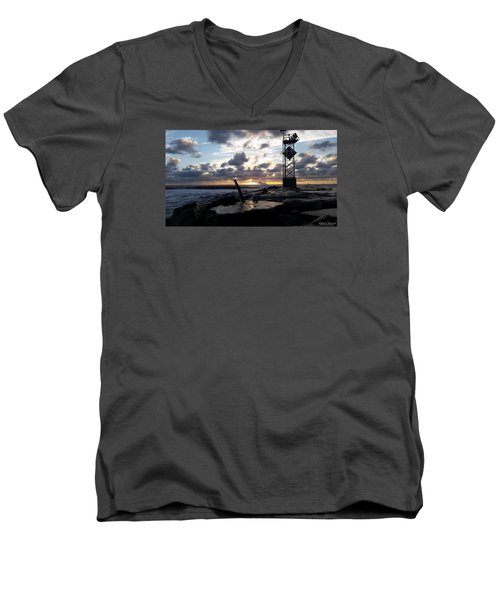 Men's V-Neck T-Shirt featuring the photograph Sunrise Splash On The Jetty by Robert Banach