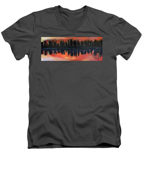 Men's V-Neck T-Shirt featuring the painting Sunrise Sunset by Gary Smith