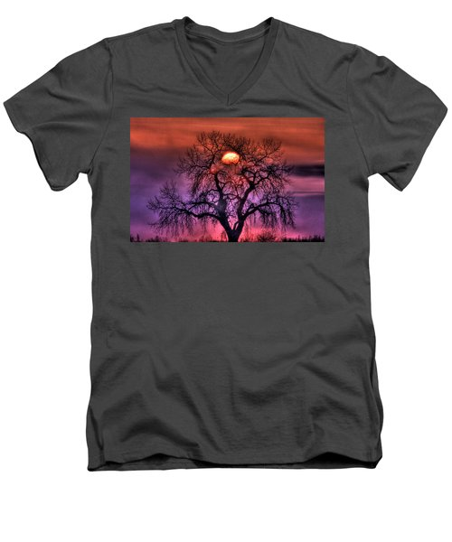 Sunrise Through The Foggy Tree Men's V-Neck T-Shirt