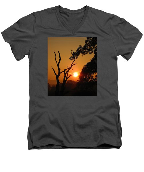 Men's V-Neck T-Shirt featuring the photograph Sunrise Trees by RKAB Works