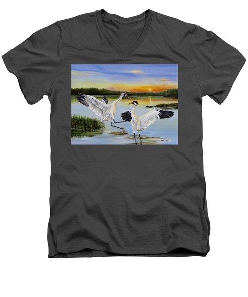 Sunrise Whooping Cranes Men's V-Neck T-Shirt by Phyllis Beiser