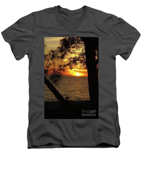 Sunset 1 Men's V-Neck T-Shirt by Megan Cohen
