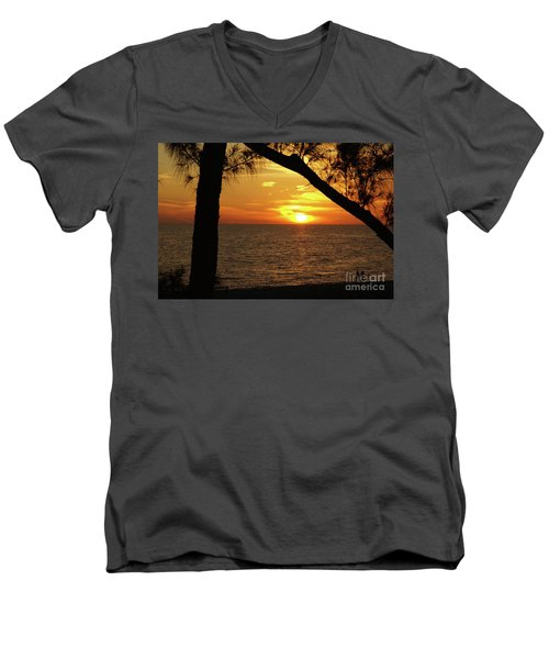Sunset 2 Men's V-Neck T-Shirt by Megan Cohen