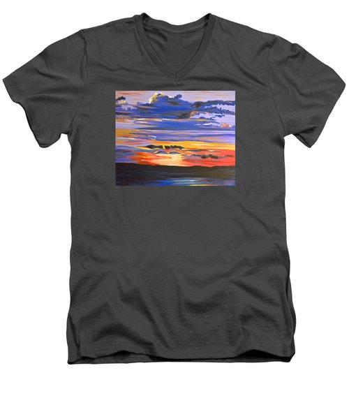 Sunset #5 Men's V-Neck T-Shirt by Donna Blossom