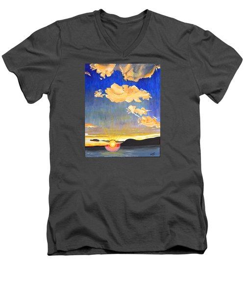 Sunset #6 Men's V-Neck T-Shirt by Donna Blossom