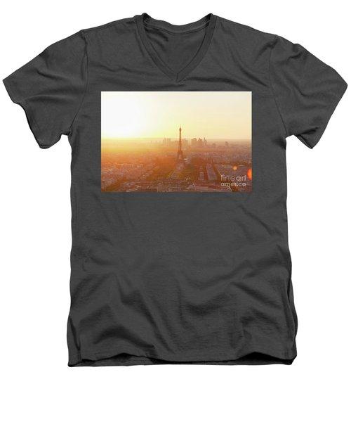 Sunset Above Paris Men's V-Neck T-Shirt