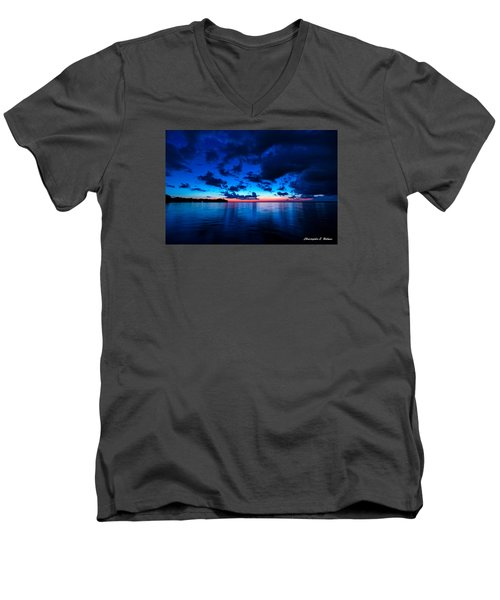 Men's V-Neck T-Shirt featuring the photograph Sunset After Glow by Christopher Holmes