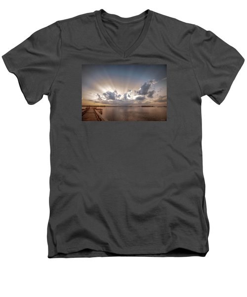Men's V-Neck T-Shirt featuring the digital art Sunset Aftermath by Phil Mancuso