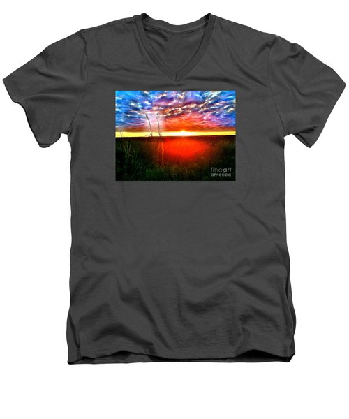 Men's V-Neck T-Shirt featuring the painting Sunset by Amy Sorrell