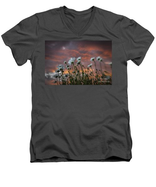 Sunset And Daisies Men's V-Neck T-Shirt