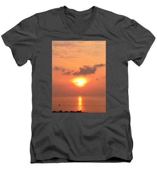 Men's V-Neck T-Shirt featuring the photograph Sunset And Sailboat by Karen Nicholson
