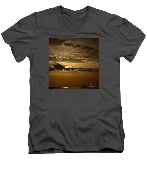 Men's V-Neck T-Shirt featuring the photograph Sunset And Sanpan by Shirley Mangini