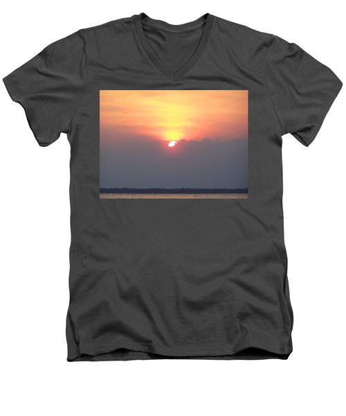 Men's V-Neck T-Shirt featuring the photograph Sunset And The Storm by Sandi OReilly