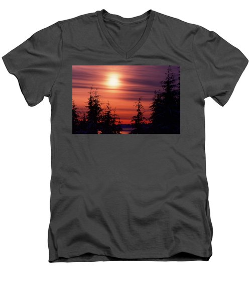 Sunset And Trees Two  Men's V-Neck T-Shirt by Lyle Crump