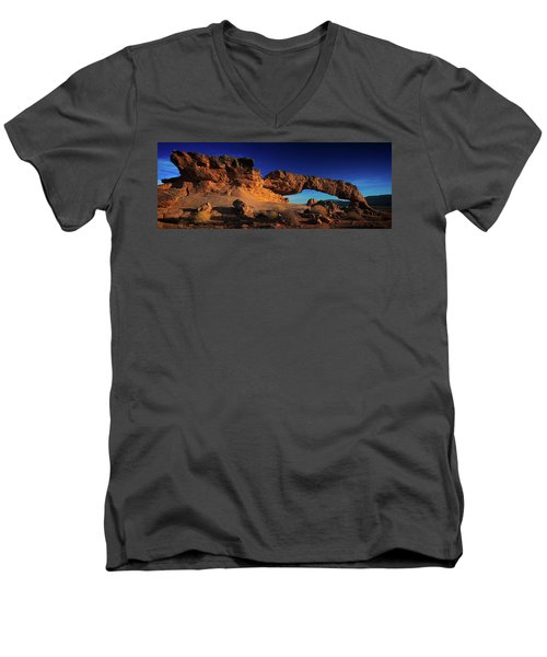 Men's V-Neck T-Shirt featuring the photograph Sunset Arch Pano by Edgars Erglis