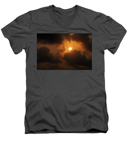 Men's V-Neck T-Shirt featuring the photograph Sunset At Aruba by Allen Carroll