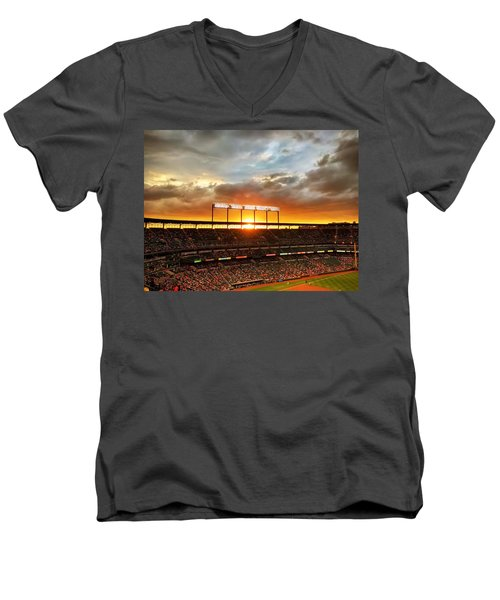 Sunset At Camden Yards Men's V-Neck T-Shirt