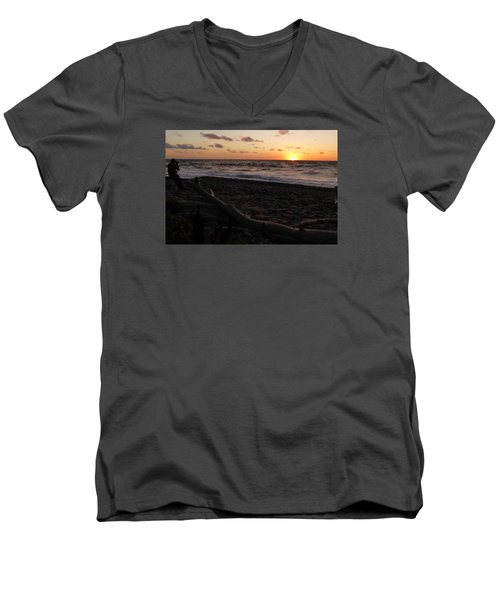 Men's V-Neck T-Shirt featuring the photograph Sunset At Cap Rouge by Joel Deutsch