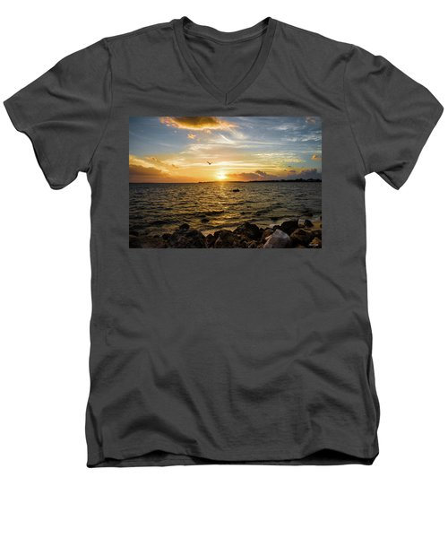 Sunset At Cedar Key Men's V-Neck T-Shirt by Rebecca Hiatt