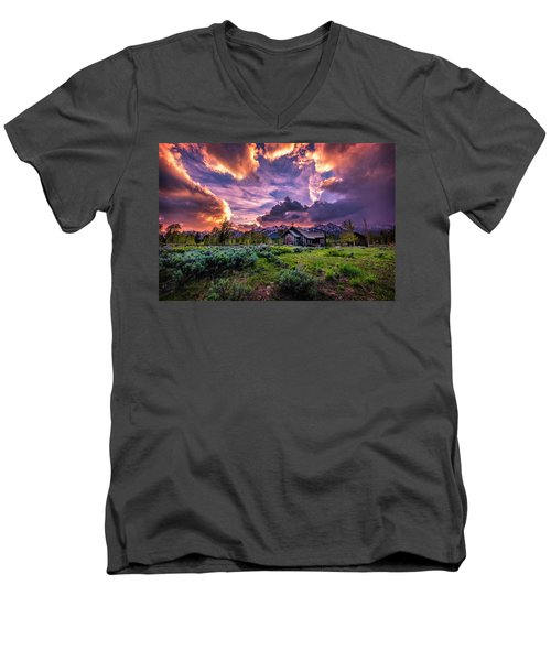 Sunset At Chapel Of Tranquility Men's V-Neck T-Shirt