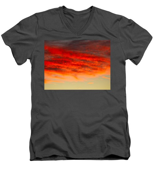 Sunset At Eaton Rapids 4826 Men's V-Neck T-Shirt
