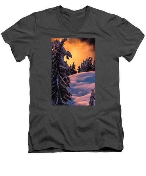 Sunset At Grouse Mountain Men's V-Neck T-Shirt by Sabine Edrissi