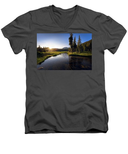 Sunset At Kings Creek In Lassen Volcanic National Men's V-Neck T-Shirt
