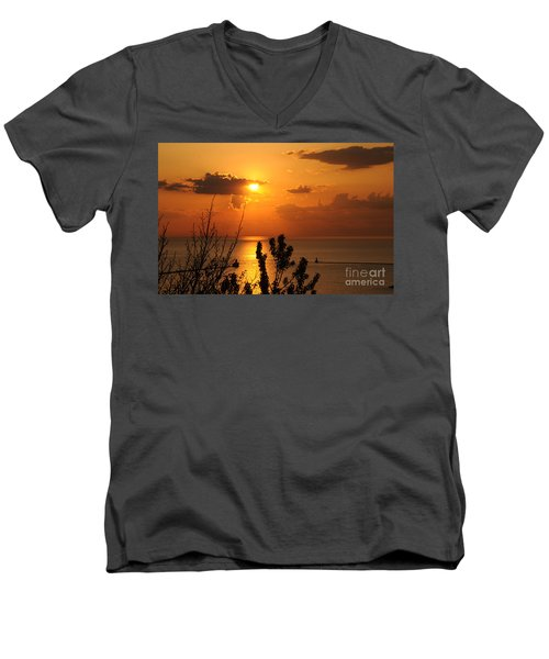 Sunset At Lake Huron Men's V-Neck T-Shirt