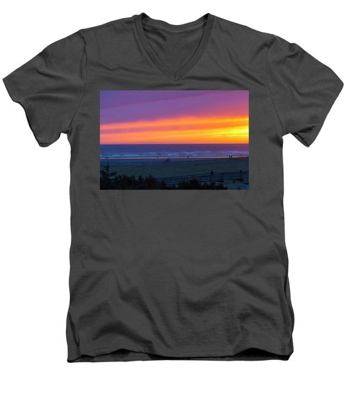 Sunset At Long Beach Washington Men's V-Neck T-Shirt