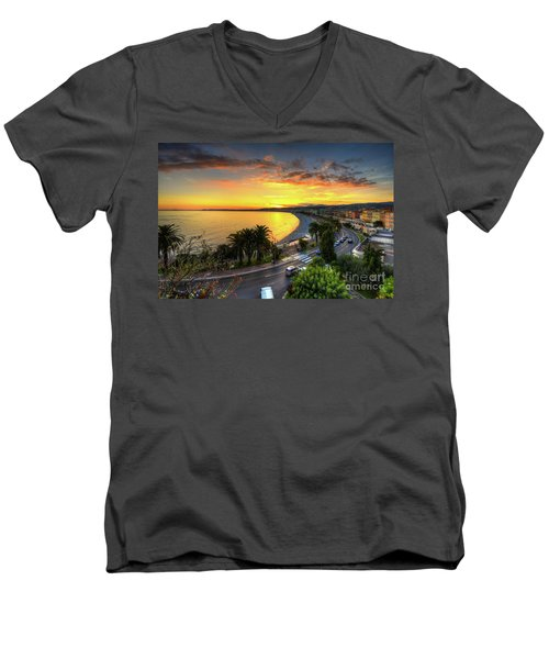 Men's V-Neck T-Shirt featuring the photograph Sunset At Nice by Yhun Suarez