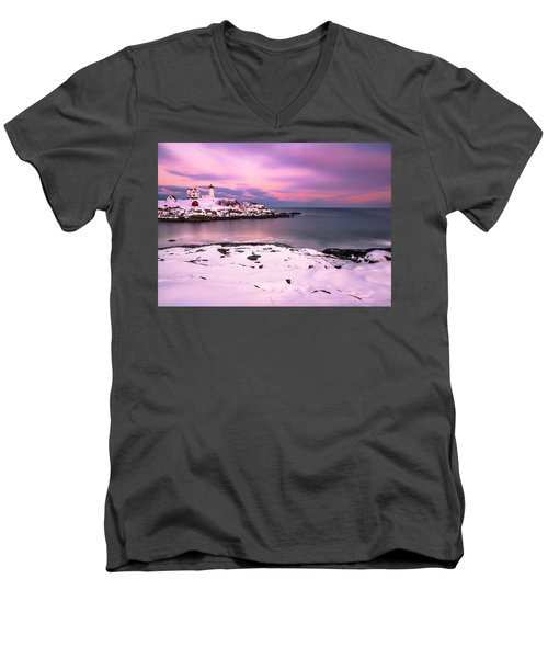 Sunset At Nubble Lighthouse In Maine In Winter Snow Men's V-Neck T-Shirt by Ranjay Mitra