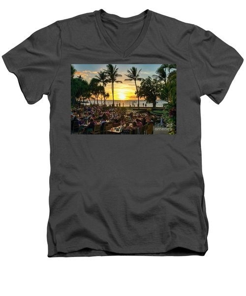 Sunset At Old Lahaina Luau #1 Men's V-Neck T-Shirt