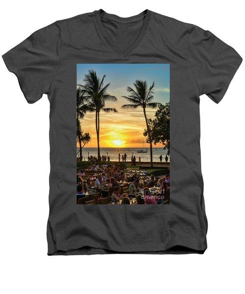 Sunset At Old Lahina Luau #2 Men's V-Neck T-Shirt