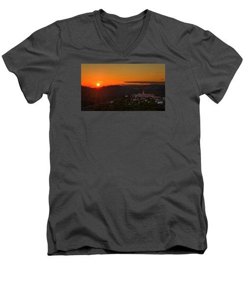 Sunset At Padna Men's V-Neck T-Shirt by Robert Krajnc